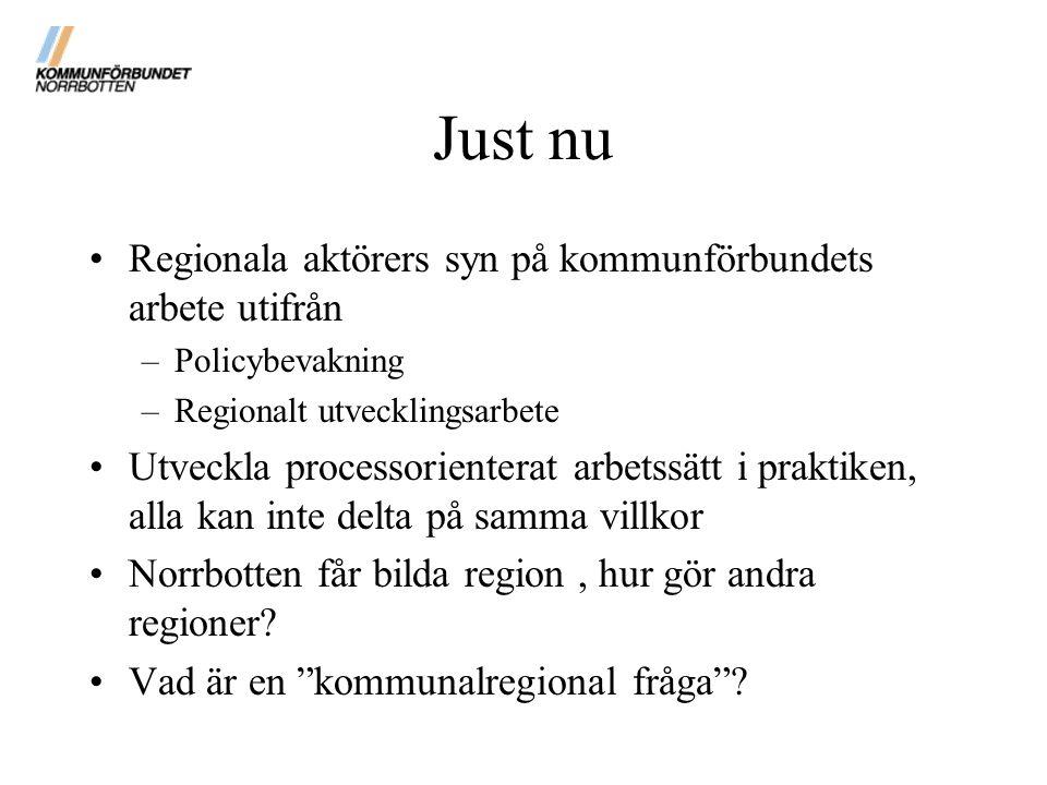 Just nu Regionala aktörers syn på kommunförbundets arbete utifrån –Policybevakning –Regionalt utvecklingsarbete Utveckla processorienterat arbetssätt