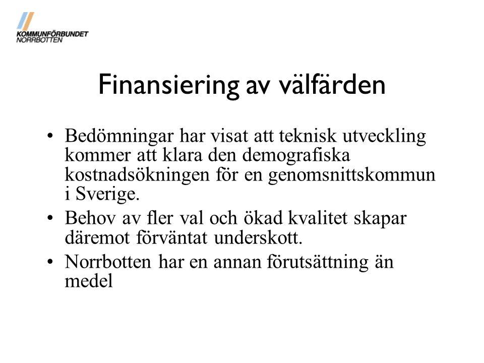 Bedömningar har visat att teknisk utveckling kommer att klara den demografiska kostnadsökningen för en genomsnittskommun i Sverige. Behov av fler val
