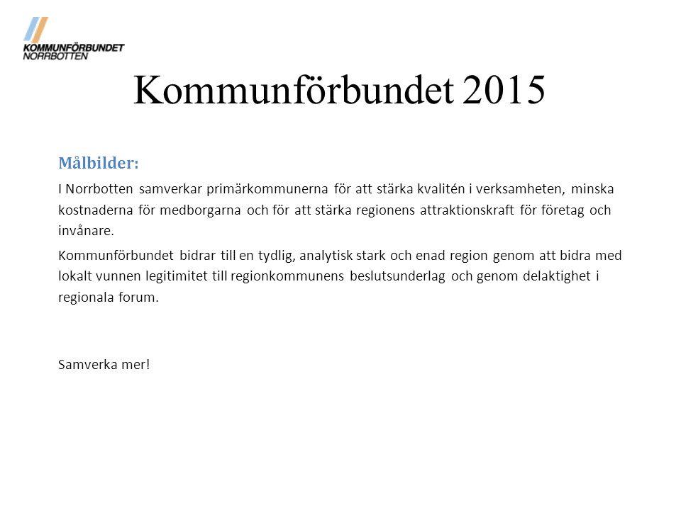 Kommunförbundet 2015 Målbilder: I Norrbotten samverkar primärkommunerna för att stärka kvalitén i verksamheten, minska kostnaderna för medborgarna och