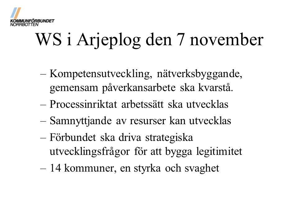 WS i Arjeplog den 7 november –Kompetensutveckling, nätverksbyggande, gemensam påverkansarbete ska kvarstå. –Processinriktat arbetssätt ska utvecklas –