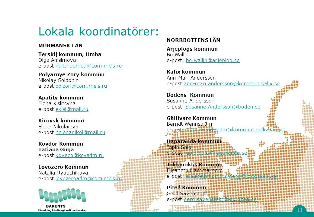 MURMANSK LÄN Terskij kommun, Umba Olga Anisimova e-post kulturaumba@com.mels.rukulturaumba@com.mels.ru Polyarnye Zory kommun Nikolay Goldobin e-post polzori@com.mels.rupolzori@com.mels.ru Apatity kommun Elena Kislitsyna e-post ekisl@mail.ruekisl@mail.ru Kirovsk kommun Elena Nikolaieva e-post helenanikol@mail.ruhelenanikol@mail.ru Kovdor Kommun Tatiana Guga e-post koveco@kovadm.rukoveco@kovadm.ru Lovozero Kommun Natalia Ryabchikova, e-post lovozeroadm@com.mels.rulovozeroadm@com.mels.ru NORRBOTTENS LÄN Arjeplogs kommun Bo Wallin e-post: bo.wallin@arjeplog.sebo.wallin@arjeplog.se Kalix kommun Ann-Mari Andersson e-post ann-mari.andersson@kommun.kalix.seann-mari.andersson@kommun.kalix.se Bodens Kommun Susanne Andersson e-post Susanne.Andersson@boden.se Gällivare Kommun Berndt Wennström e-post bernt.wennstrom@kommun.gellivare.seSusanne.Andersson@boden.sebernt.wennstrom@kommun.gellivare.se Haparanda kommun Tapio Salo e-post Tapio.Salo@haparanda.seTapio.Salo@haparanda.se Jokkmokks Kommun Elisabeth Hammarberg e-post elisabeth.hammarberg@jokkmokk.seelisabeth.hammarberg@jokkmokk.se Piteå Kommun Gerd Sävenstedt e-post gerd.savenstedt@klk.pitea.segerd.savenstedt@klk.pitea.se Lokala koordinatörer: 11
