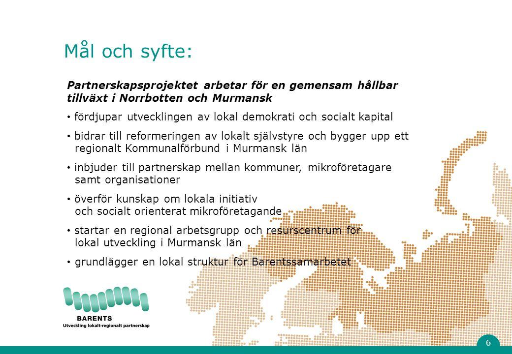 Partnerskapsprojektet arbetar för en gemensam hållbar tillväxt i Norrbotten och Murmansk fördjupar utvecklingen av lokal demokrati och socialt kapital bidrar till reformeringen av lokalt självstyre och bygger upp ett regionalt Kommunalförbund i Murmansk län inbjuder till partnerskap mellan kommuner, mikroföretagare samt organisationer överför kunskap om lokala initiativ och socialt orienterat mikroföretagande startar en regional arbetsgrupp och resurscentrum för lokal utveckling i Murmansk län grundlägger en lokal struktur för Barentssamarbetet Mål och syfte: 6
