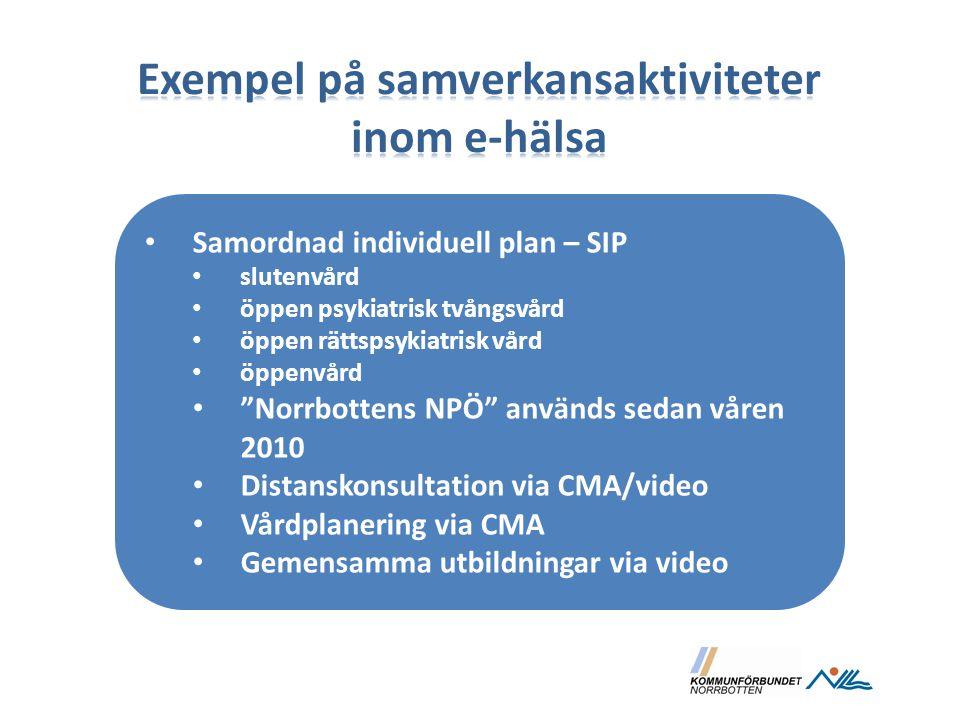 """Samordnad individuell plan – SIP slutenvård öppen psykiatrisk tvångsvård öppen rättspsykiatrisk vård öppenvård """"Norrbottens NPÖ"""" används sedan våren 2"""
