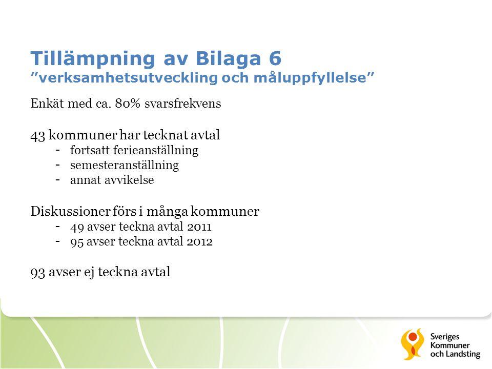 Tillämpning av Bilaga 6 verksamhetsutveckling och måluppfyllelse Enkät med ca.