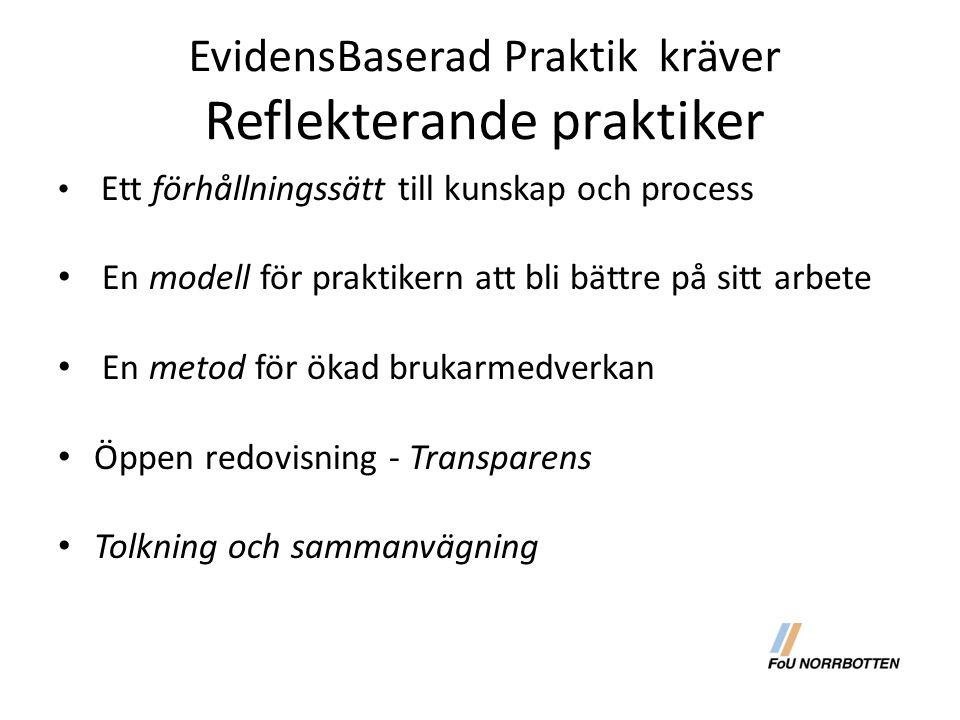 EvidensBaserad Praktik kräver Reflekterande praktiker Ett förhållningssätt till kunskap och process En modell för praktikern att bli bättre på sitt arbete En metod för ökad brukarmedverkan Öppen redovisning - Transparens Tolkning och sammanvägning