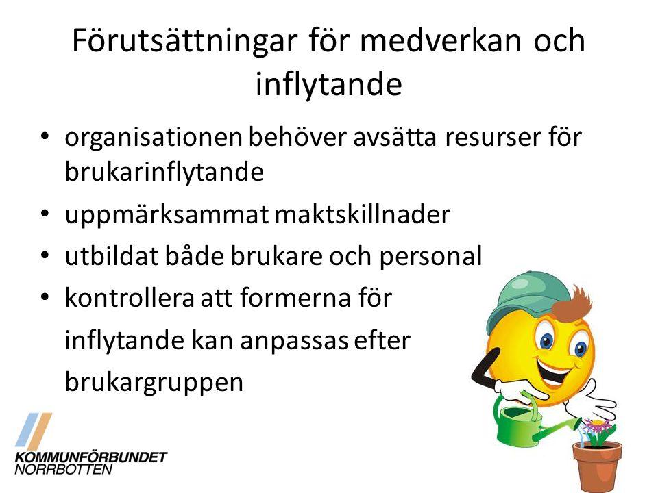 Förutsättningar för medverkan och inflytande organisationen behöver avsätta resurser för brukarinflytande uppmärksammat maktskillnader utbildat både brukare och personal kontrollera att formerna för inflytande kan anpassas efter brukargruppen