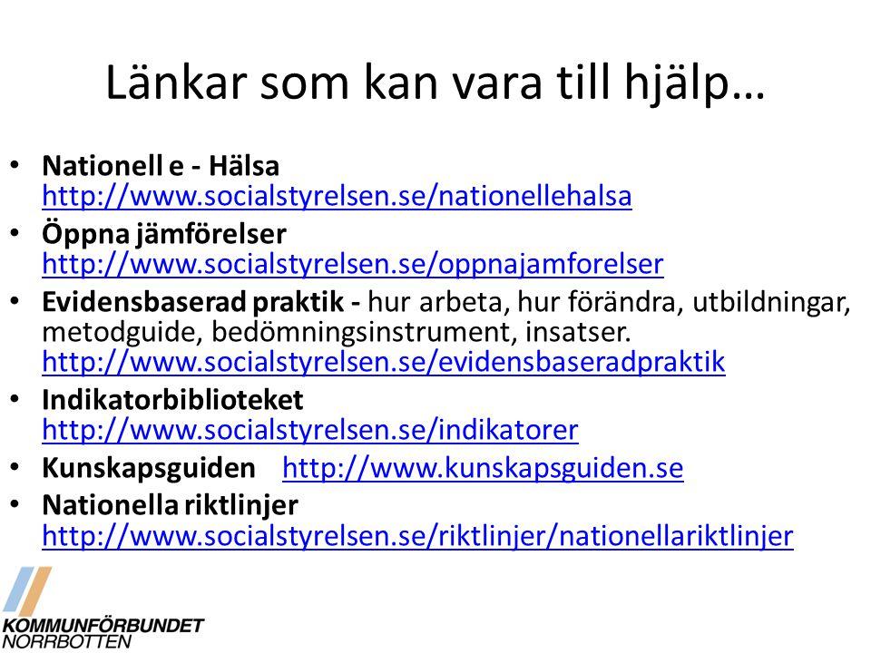 Länkar som kan vara till hjälp… Nationell e - Hälsa http://www.socialstyrelsen.se/nationellehalsa http://www.socialstyrelsen.se/nationellehalsa Öppna jämförelser http://www.socialstyrelsen.se/oppnajamforelser http://www.socialstyrelsen.se/oppnajamforelser Evidensbaserad praktik - hur arbeta, hur förändra, utbildningar, metodguide, bedömningsinstrument, insatser.
