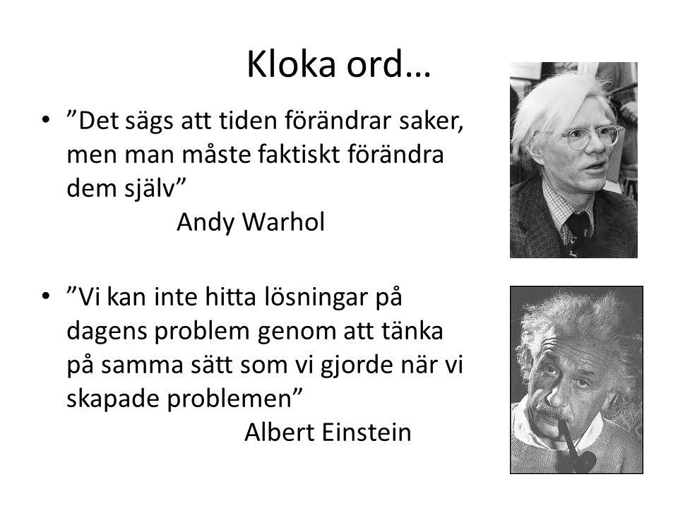 Kloka ord… Det sägs att tiden förändrar saker, men man måste faktiskt förändra dem själv Andy Warhol Vi kan inte hitta lösningar på dagens problem genom att tänka på samma sätt som vi gjorde när vi skapade problemen Albert Einstein