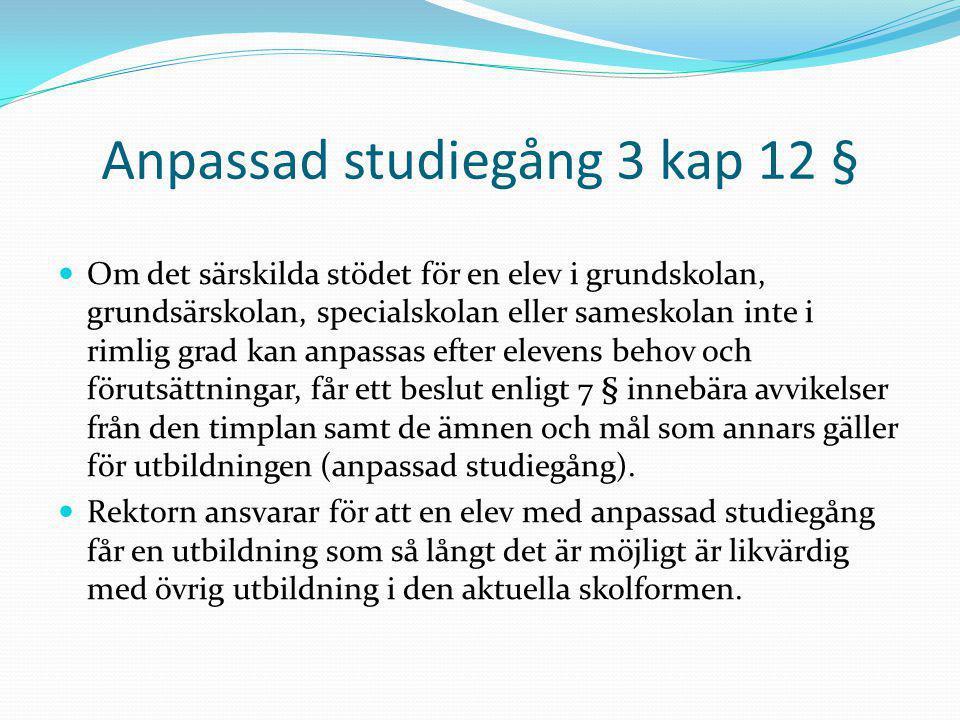 Anpassad studiegång 3 kap 12 § Om det särskilda stödet för en elev i grundskolan, grundsärskolan, specialskolan eller sameskolan inte i rimlig grad ka