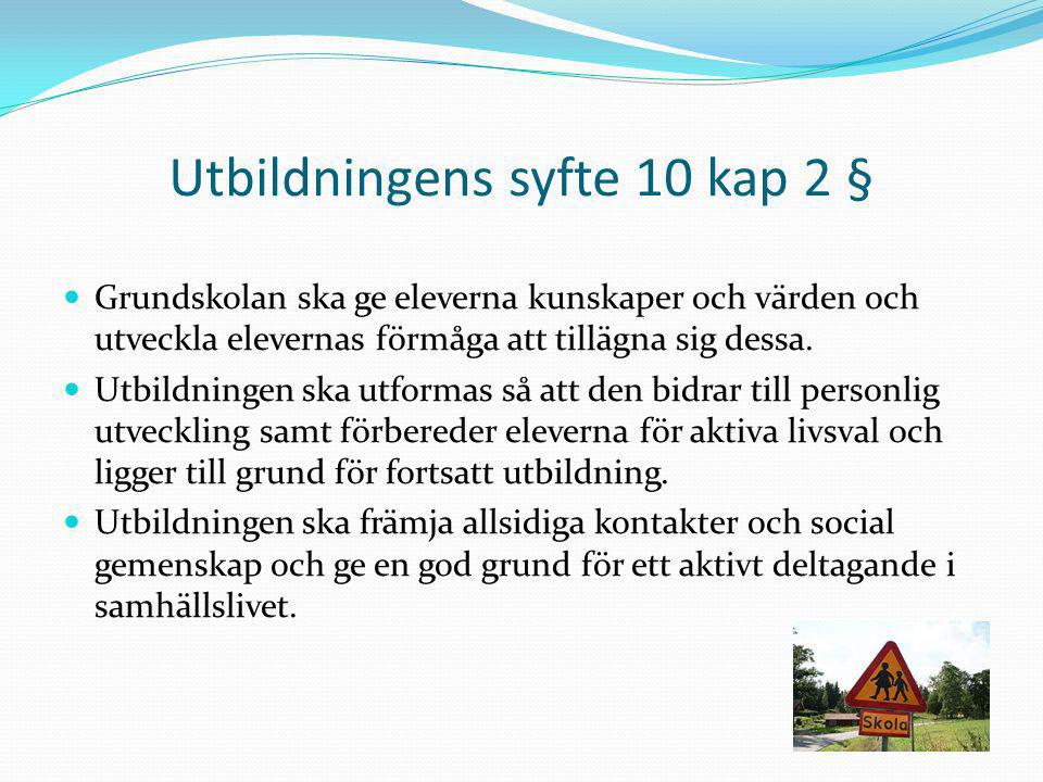 Utbildningens syfte 10 kap 2 § Grundskolan ska ge eleverna kunskaper och värden och utveckla elevernas förmåga att tillägna sig dessa. Utbildningen sk