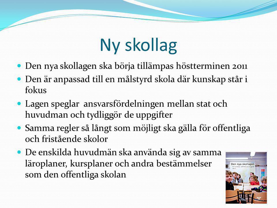 Ny skollag Den nya skollagen ska börja tillämpas höstterminen 2011 Den är anpassad till en målstyrd skola där kunskap står i fokus Lagen speglar ansva