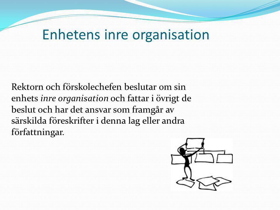 Enhetens inre organisation Rektorn och förskolechefen beslutar om sin enhets inre organisation och fattar i övrigt de beslut och har det ansvar som fr