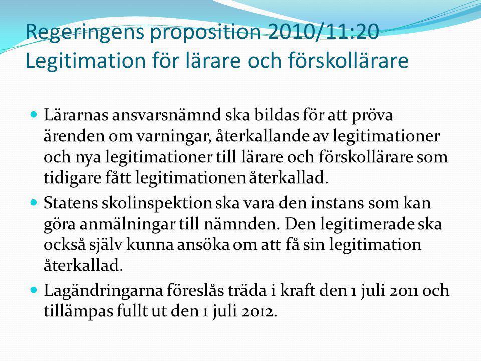 Regeringens proposition 2010/11:20 Legitimation för lärare och förskollärare Lärarnas ansvarsnämnd ska bildas för att pröva ärenden om varningar, åter