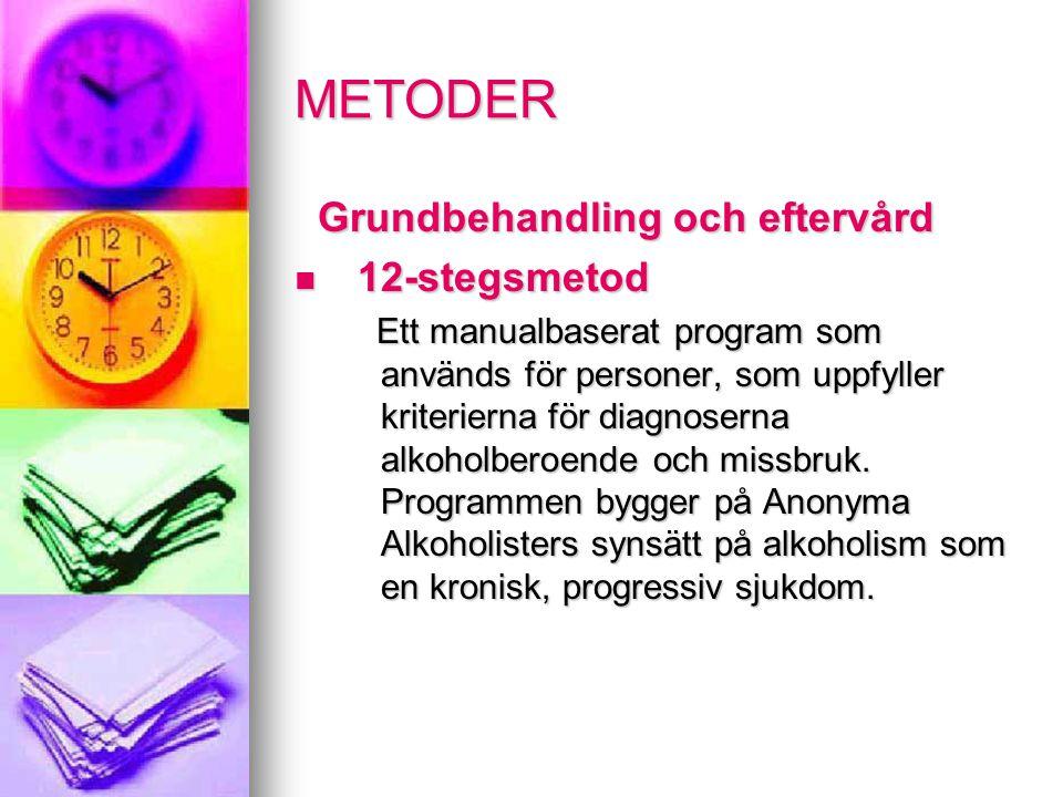 METODER Grundbehandling och eftervård 1 12-stegsmetod Ett manualbaserat program som används för personer, som uppfyller kriterierna för diagnoserna alkoholberoende och missbruk.