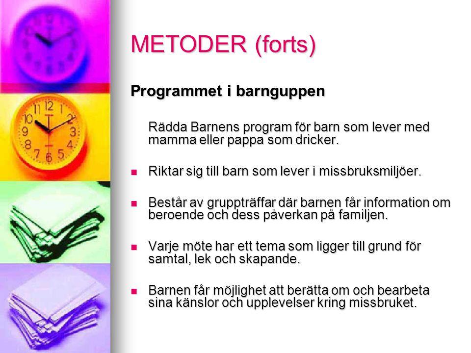 METODER (forts) Programmet i barnguppen Rädda Barnens program för barn som lever med mamma eller pappa som dricker.