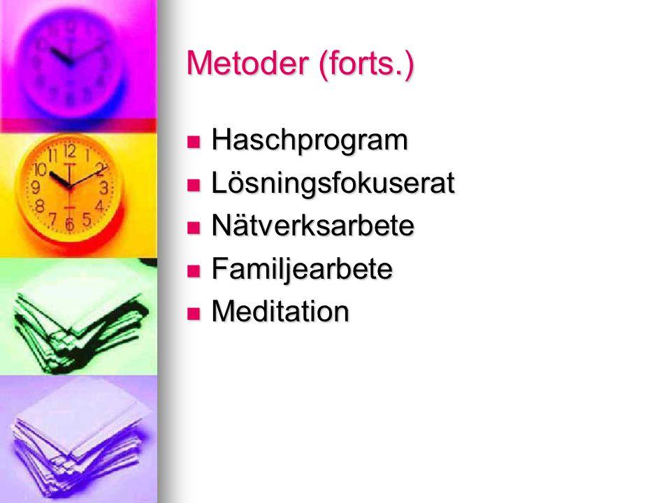 Metoder (forts.) Haschprogram Lösningsfokuserat Nätverksarbete Familjearbete Meditation