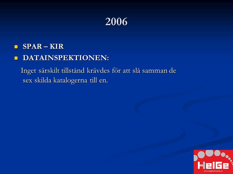 2006 SPAR – KIR SPAR – KIR DATAINSPEKTIONEN: DATAINSPEKTIONEN: Inget särskilt tillstånd krävdes för att slå samman de sex skilda katalogerna till en.
