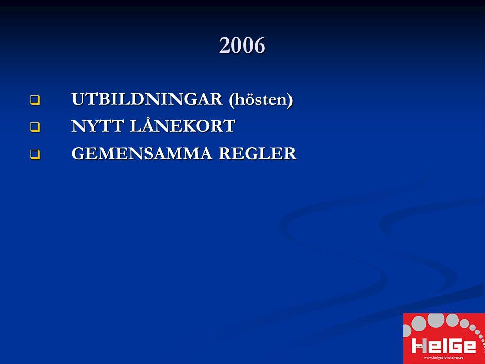 2006  UTBILDNINGAR (hösten)  NYTT LÅNEKORT  GEMENSAMMA REGLER