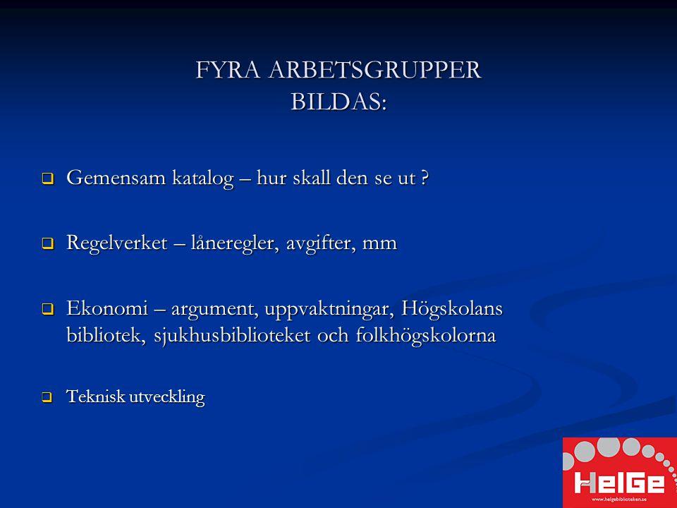 FYRA ARBETSGRUPPER BILDAS:  Gemensam katalog – hur skall den se ut .