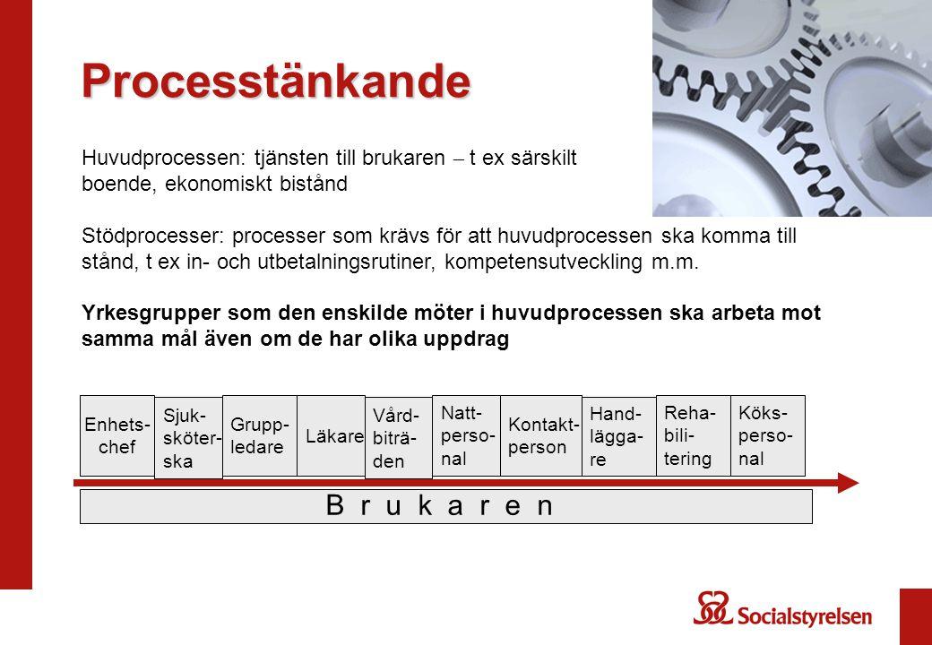 Processtänkande Huvudprocessen: tjänsten till brukaren – t ex särskilt boende, ekonomiskt bistånd Stödprocesser: processer som krävs för att huvudprocessen ska komma till stånd, t ex in- och utbetalningsrutiner, kompetensutveckling m.m.