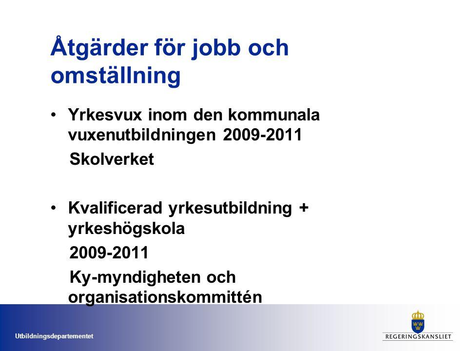 Utbildningsdepartementet Åtgärder för jobb och omställning Yrkesvux inom den kommunala vuxenutbildningen 2009-2011 Skolverket Kvalificerad yrkesutbild