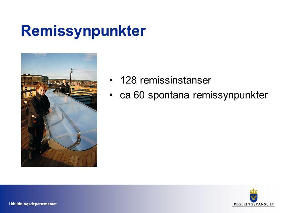 Remissynpunkter 128 remissinstanser ca 60 spontana remissynpunkter
