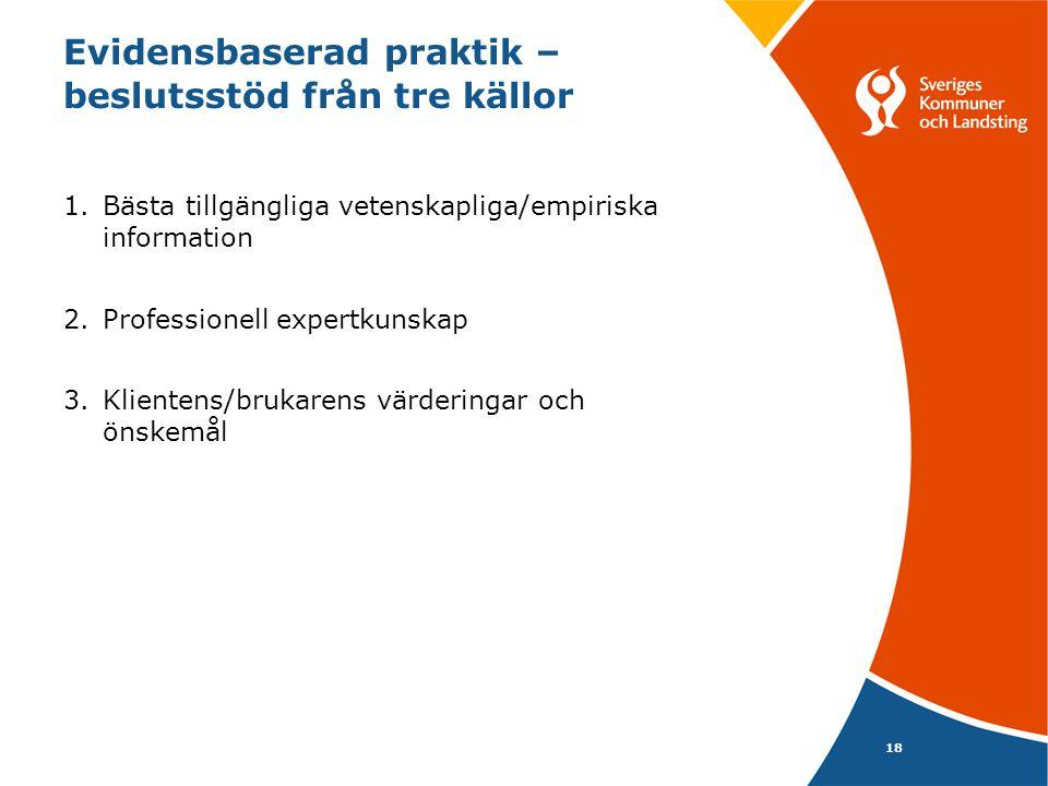Evidensbaserad praktik – beslutsstöd från tre källor 1.Bästa tillgängliga vetenskapliga/empiriska information 2.Professionell expertkunskap 3.Klientens/brukarens värderingar och önskemål 18