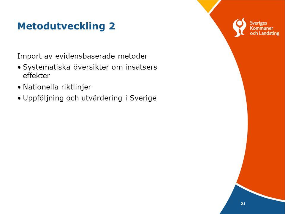 Metodutveckling 2 Import av evidensbaserade metoder Systematiska översikter om insatsers effekter Nationella riktlinjer Uppföljning och utvärdering i Sverige 21