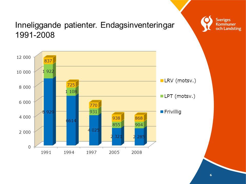 6 Inneliggande patienter. Endagsinventeringar 1991-2008