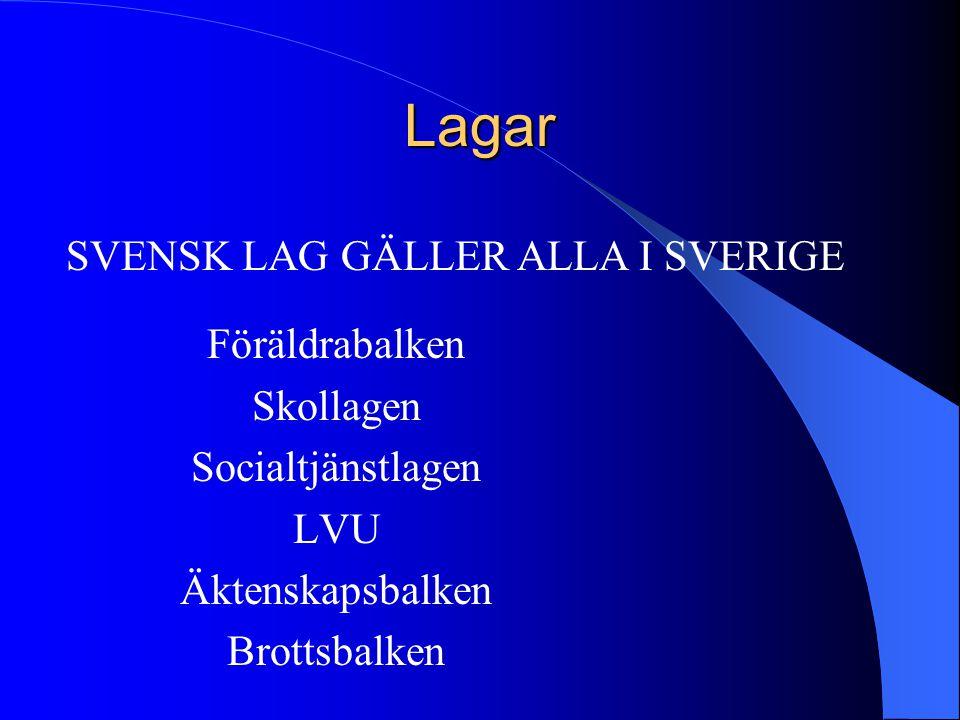 Lagar Föräldrabalken Skollagen Socialtjänstlagen LVU Äktenskapsbalken Brottsbalken SVENSK LAG GÄLLER ALLA I SVERIGE