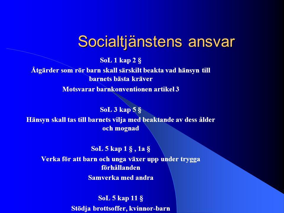 Socialtjänstens ansvar SoL 1 kap 2 § Åtgärder som rör barn skall särskilt beakta vad hänsyn till barnets bästa kräver Motsvarar barnkonventionen artik