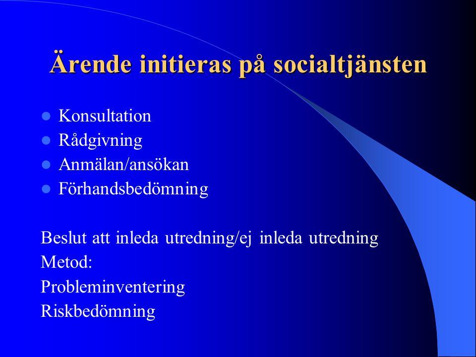 Ärende initieras på socialtjänsten Konsultation Rådgivning Anmälan/ansökan Förhandsbedömning Beslut att inleda utredning/ej inleda utredning Metod: Pr