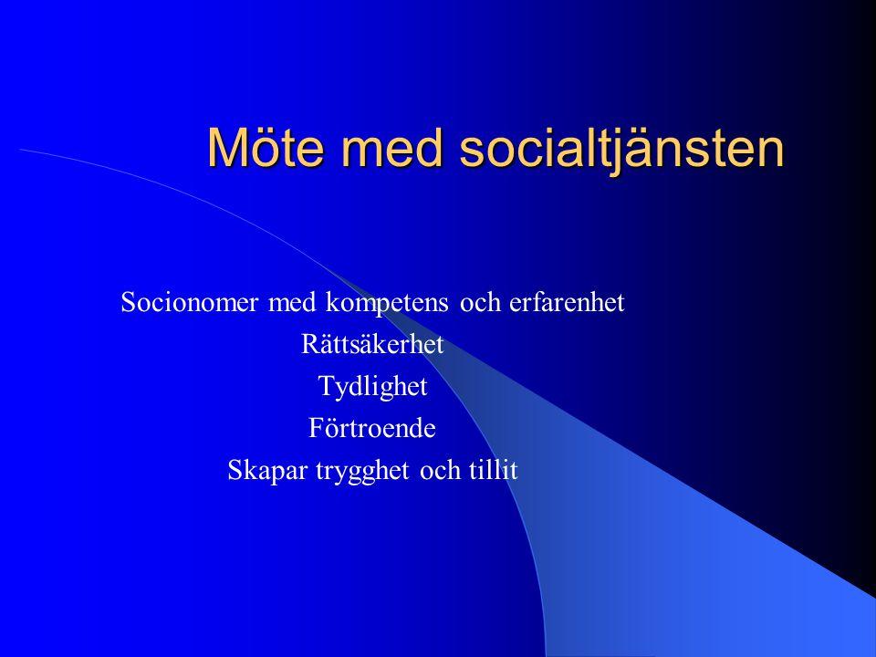 Möte med socialtjänsten Socionomer med kompetens och erfarenhet Rättsäkerhet Tydlighet Förtroende Skapar trygghet och tillit