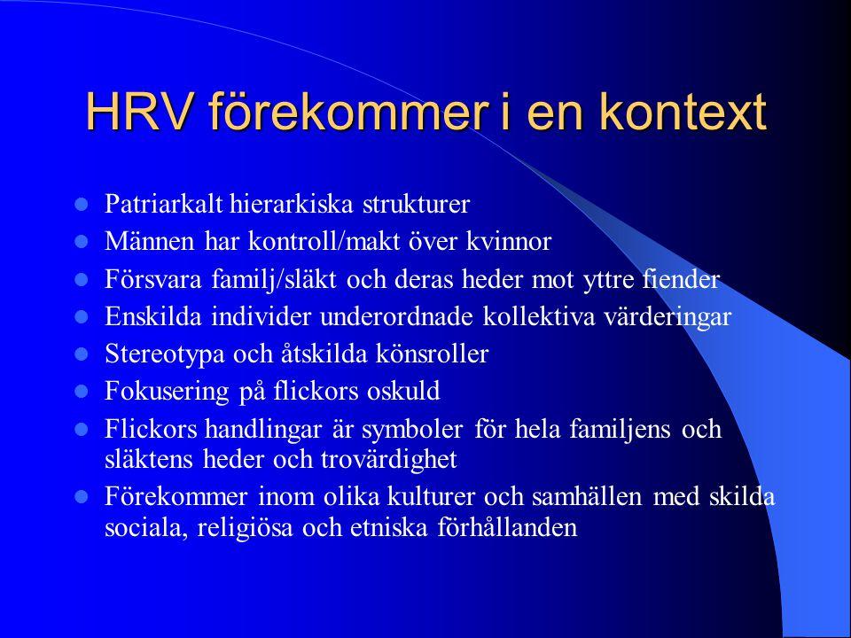 HRV förekommer i en kontext Patriarkalt hierarkiska strukturer Männen har kontroll/makt över kvinnor Försvara familj/släkt och deras heder mot yttre f