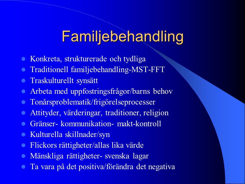 Familjebehandling Konkreta, strukturerade och tydliga Traditionell familjebehandling-MST-FFT Traskulturellt synsätt Arbeta med uppfostringsfrågor/barn