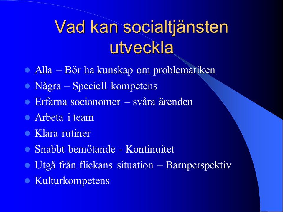 Vad kan socialtjänsten utveckla Alla – Bör ha kunskap om problematiken Några – Speciell kompetens Erfarna socionomer – svåra ärenden Arbeta i team Kla