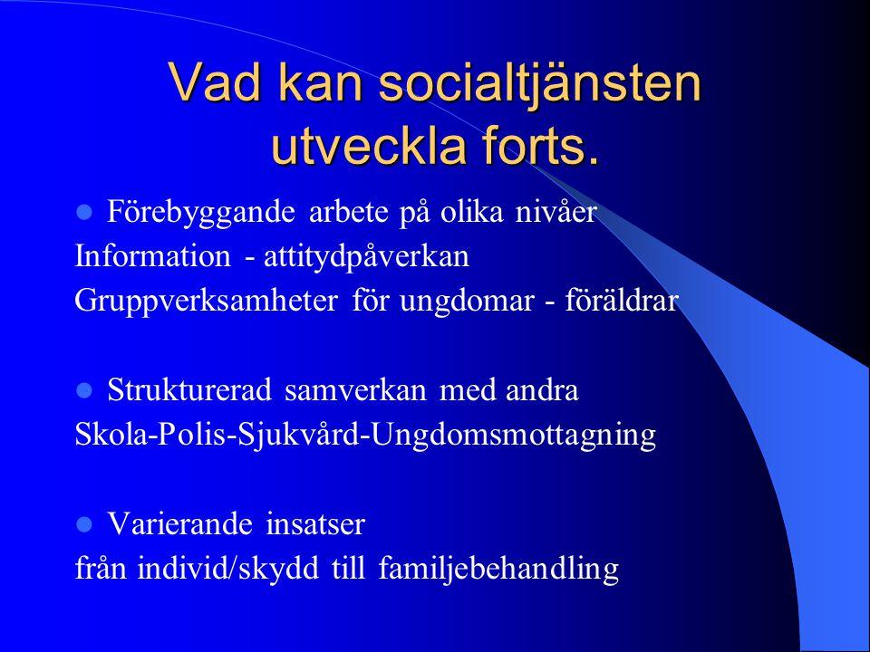 Vad kan socialtjänsten utveckla forts. Förebyggande arbete på olika nivåer Information - attitydpåverkan Gruppverksamheter för ungdomar - föräldrar St