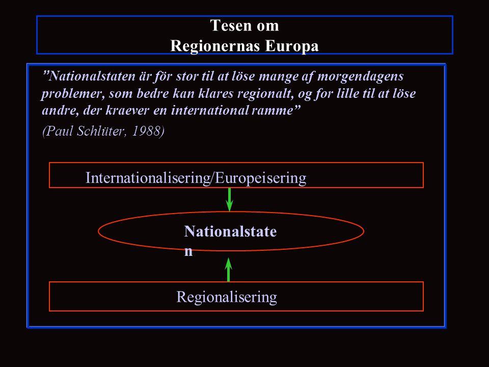Tesen om Regionernas Europa Nationalstaten är för stor til at löse mange af morgendagens problemer, som bedre kan klares regionalt, og for lille til at löse andre, der kraever en international ramme (Paul Schlüter, 1988) Nationalstate n Internationalisering/Europeisering Regionalisering