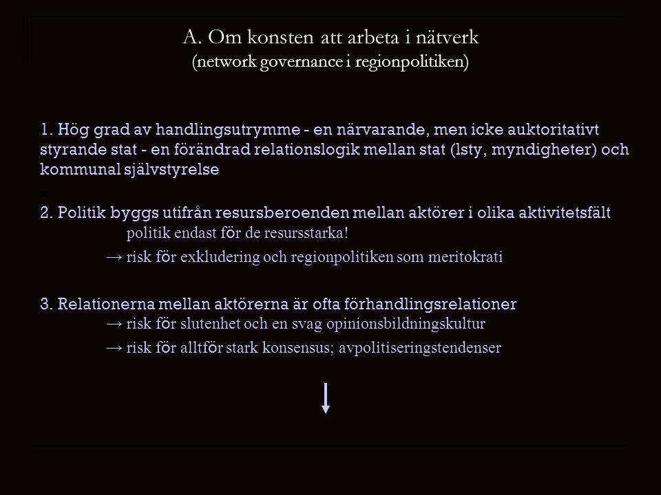 A. Om konsten att arbeta i nätverk (network governance i regionpolitiken) 1.