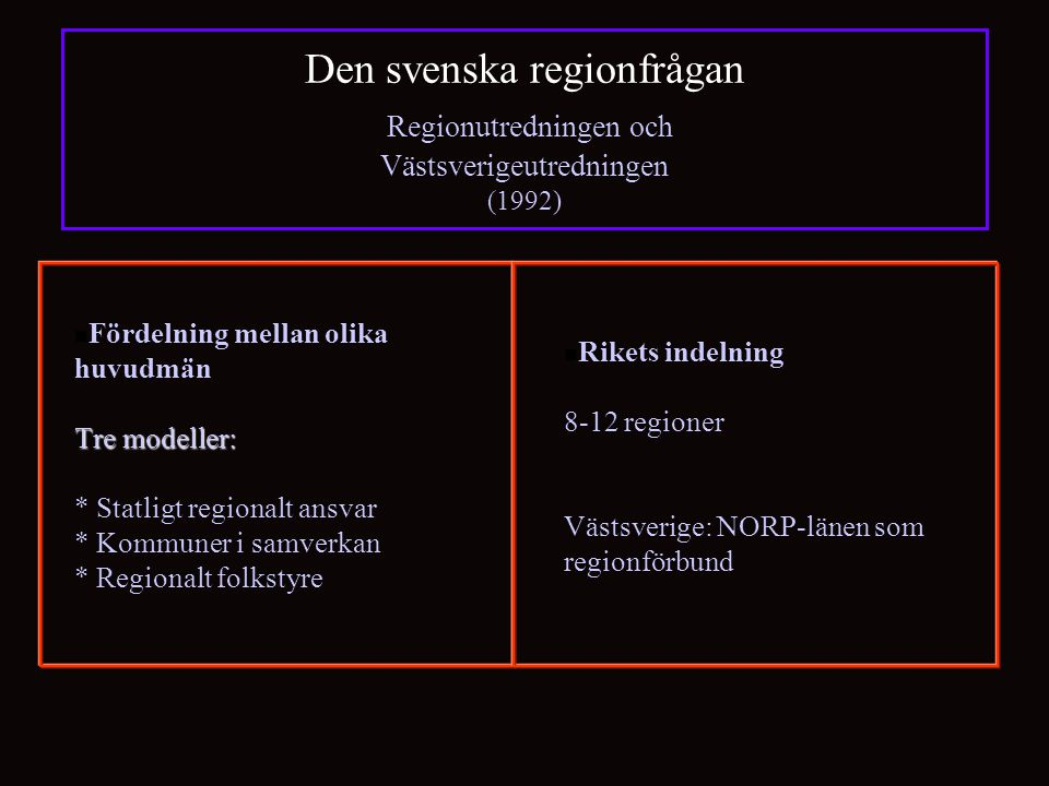 Den svenska regionfrågan Regionutredningen och Västsverigeutredningen (1992) Tre modeller: Fördelning mellan olika huvudmän Tre modeller: * Statligt regionalt ansvar * Kommuner i samverkan * Regionalt folkstyre Rikets indelning 8-12 regioner Västsverige: NORP-länen som regionförbund