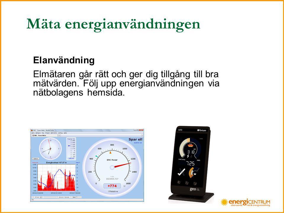 Mäta energianvändningen Fjärrvärme Notera månadsvärden.