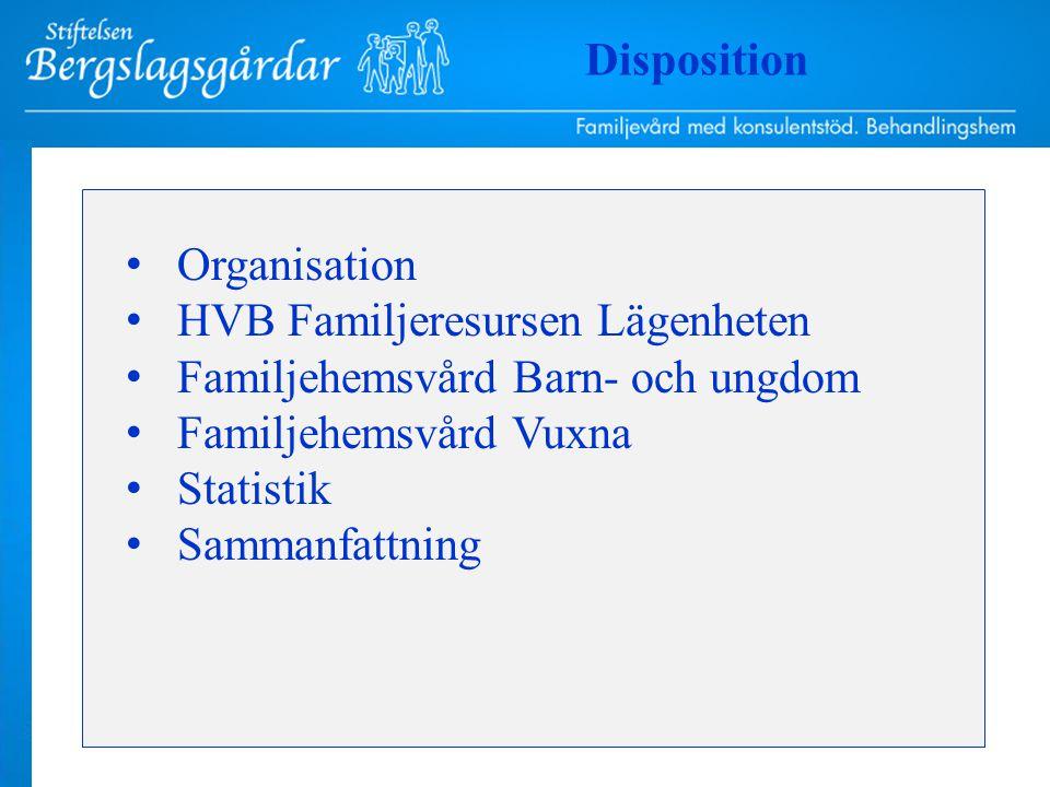 Organisation HVB Familjeresursen Lägenheten Familjehemsvård Barn- och ungdom Familjehemsvård Vuxna Statistik Sammanfattning Disposition