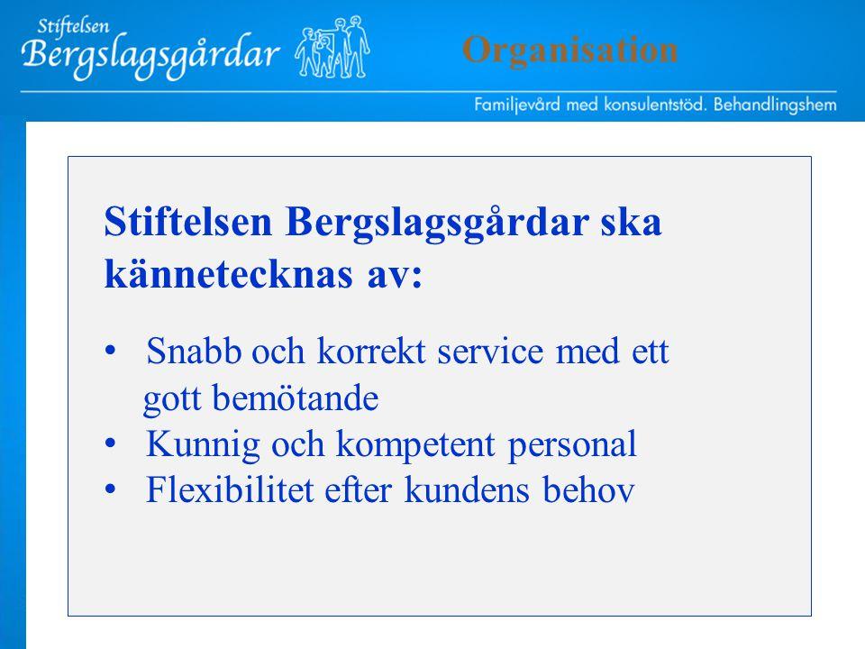 Stiftelsen Bergslagsgårdar ska kännetecknas av: Snabb och korrekt service med ett gott bemötande Kunnig och kompetent personal Flexibilitet efter kundens behov Organisation