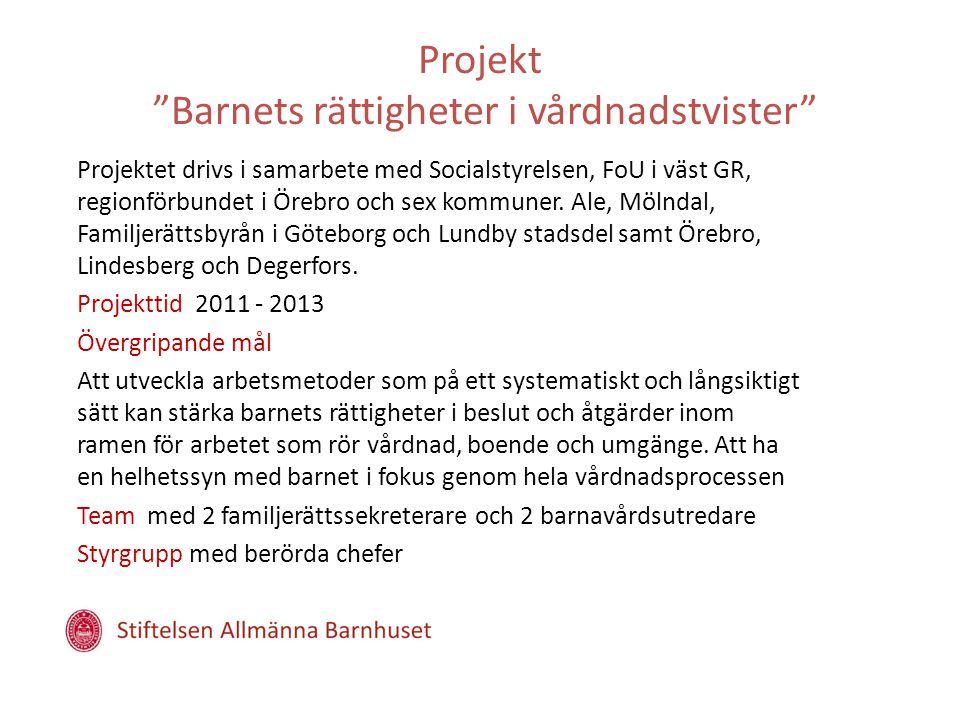 Projekt Barnets rättigheter i vårdnadstvister Projektet drivs i samarbete med Socialstyrelsen, FoU i väst GR, regionförbundet i Örebro och sex kommuner.