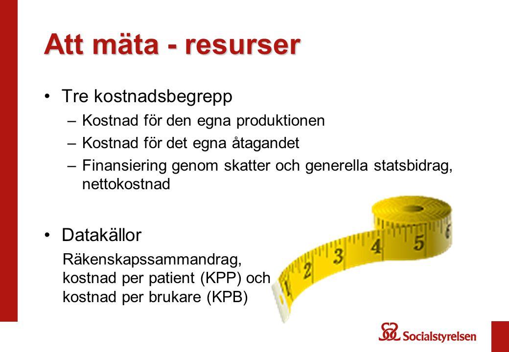 Att mäta - resurser Tre kostnadsbegrepp –Kostnad för den egna produktionen –Kostnad för det egna åtagandet –Finansiering genom skatter och generella s