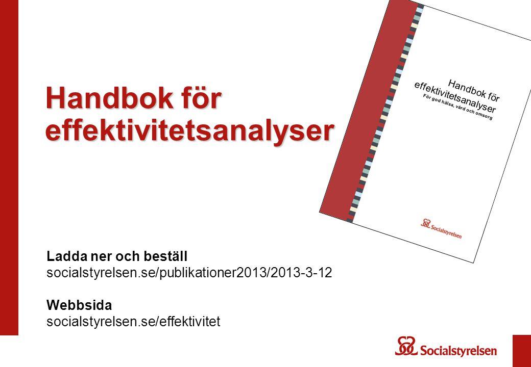 Handbok för effektivitetsanalyser För god hälsa, vård och omsorg Ladda ner och beställ socialstyrelsen.se/publikationer2013/2013-3-12 Webbsida socials