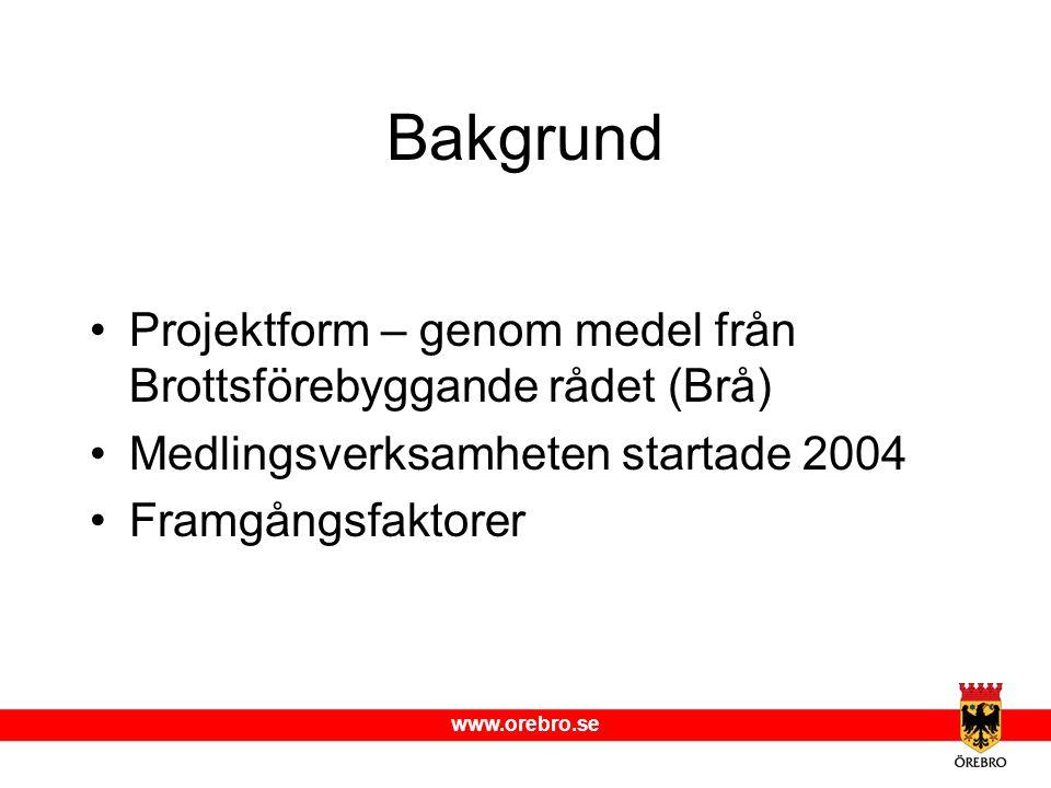 www.orebro.se Bakgrund Projektform – genom medel från Brottsförebyggande rådet (Brå) Medlingsverksamheten startade 2004 Framgångsfaktorer