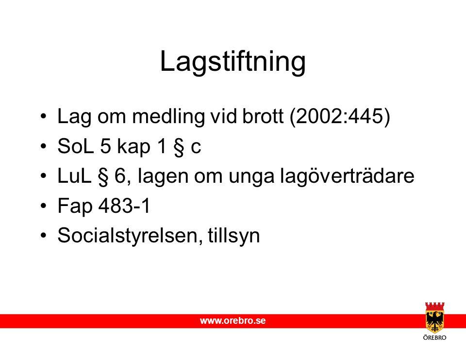 www.orebro.se Lagstiftning Lag om medling vid brott (2002:445) SoL 5 kap 1 § c LuL § 6, lagen om unga lagöverträdare Fap 483-1 Socialstyrelsen, tillsy