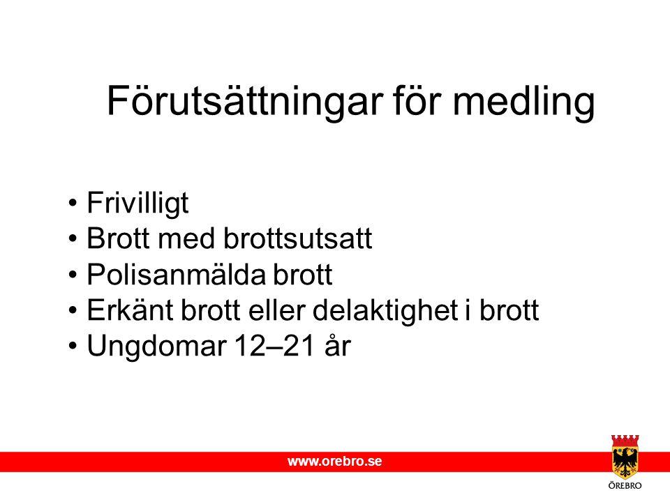 www.orebro.se Förutsättningar för medling Frivilligt Brott med brottsutsatt Polisanmälda brott Erkänt brott eller delaktighet i brott Ungdomar 12–21 å