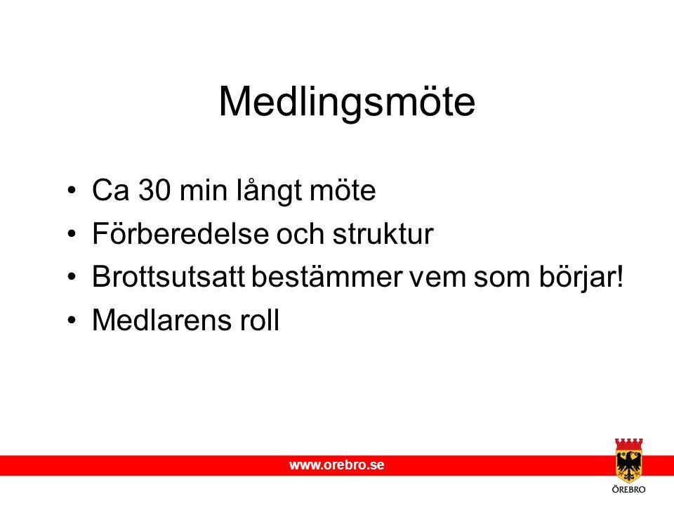 www.orebro.se Medlingsmöte Ca 30 min långt möte Förberedelse och struktur Brottsutsatt bestämmer vem som börjar! Medlarens roll